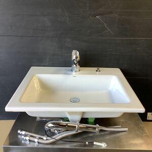 Luju ルージュ カクダイ 角型洗面器 洗面ボール  混合水栓付き 手洗い器 W600×D510 中古品