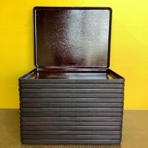 配膳トレイ 業務用トレー お盆 42.5×33.0cm 15枚セット 滑り止め加工 木目調 プラスチック製 中古