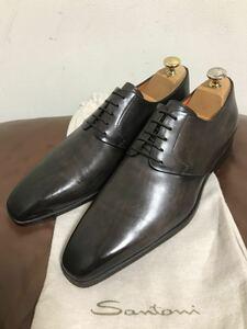 【未使用に近い】値下交渉歓迎 即決有 サントーニ 5.5 F プレーントゥ ビジネスシューズ ドレスシューズ 革靴 イタリア製