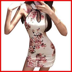 ★色:ホワイト_サイズ:L★ セクシー チャイナドレス ワンピース ベビードール 花柄 刺繍 チャイナ服風 スリップ入り ミニドレス 可愛い