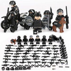 【送料無料】MOC LEGO レゴ ブロック 互換 SWAT 特殊部隊 アンチテロ部隊 カスタム ミニフィグ 6体セット 大量武器・装備・兵器付き