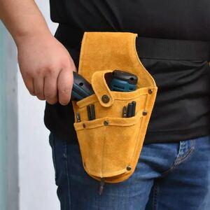 【送料無料】ツールバッグ ドリルホルダー 牛皮 工具入れ ポーチ 工具 ウェストバッグ スタイリッシュ DIY 収納 メンズ