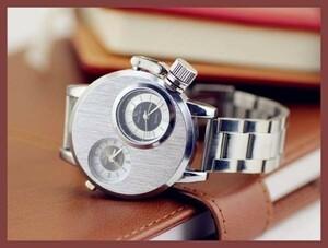 1●■新品-未使用■●腕時計(銀) クロノグラフ アンティーク正規品 クオーツ 金属革 オーデマピゲスケルトン シルバーゴールド ウイナー④