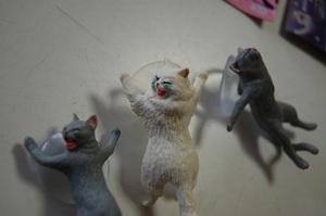 I 猫 ネコ 吸盤付きスタンド ねこフィギュア 3点セット スマホスタンド