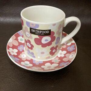 カップ&ソーサー コーヒーカップ スキンフード ノベルティ 花柄 かわいい ピンク 非売品 フードコスメ 韓国コスメ SKINFOOD