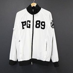 【即決】PEARLY GATES パーリーゲイツ 近年モデル ビッグフロッキー ワッペン ナイロン ジャケット ホワイト系 サイズ5 メンズ [W4382]