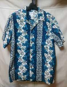 アロハシャツ ヴィンテージ ハワイ Made in Hawaii コットン100% ハイビスカス ブルー