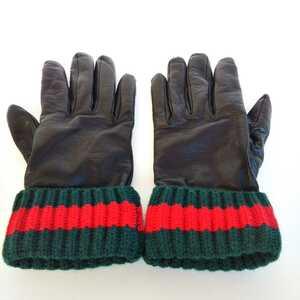 ◆GUCCIグッチ レザーグローブ 手袋 羊革 カシミア◆