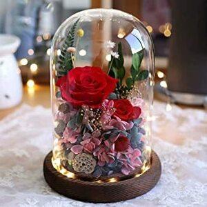 レッド プリザーブドフラワー ギフト 枯れない花 ガラスドーム LEDライト付き ドライフラワー ギフトボックス・手提げ袋・メ
