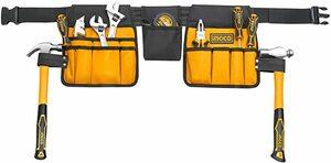 INGCO 工具袋 腰袋 ツールバッグ 工具入れ 防水仕様 14ポケット 作業袋 ツールケース ペグケース HTBP02031