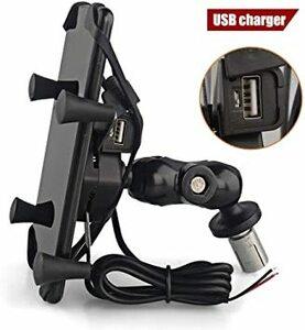 USBサポート 自転車用電話マウント360°回転調節可能なUSB充電器付き携帯電話ホルダー4~7インチの電話に適していますシリコ