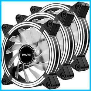 EZDIY-FAB 120mm PWM 高風量静音デュアルフレーム白色LEDケースファン, PCケースファン、CPUクーラー、およびラジエータ用 -