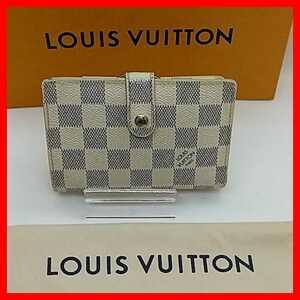 【良品】ルイヴィトン ダミエ アズール ポルトフォイユ ヴィエノワ がま口 二つ折り財布 n61676 ホワイト 白