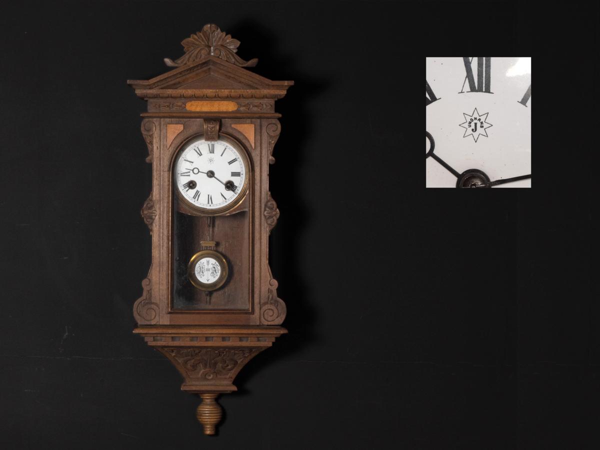アンティーク ユンハンス 小型 機械式 掛時計   824