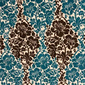 ブルー×ダークブラウン・フラワー柄カットクロス(103×55センチ)