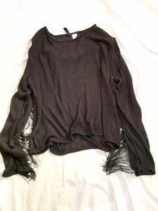 【H&M/エイチアンドエム/DIVIDED】フリンジ/透かし編/メッシュトップス /ロックテイスト/カットソー/ストリートファッション/ロングTシャツ