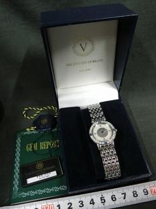 A4385 VALENTINO DOMANI 宝石付プラチナ文字盤 クォーツ腕時計
