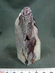 A4571 中国印石 昌化石 彫蝉文 角印 印材 187g