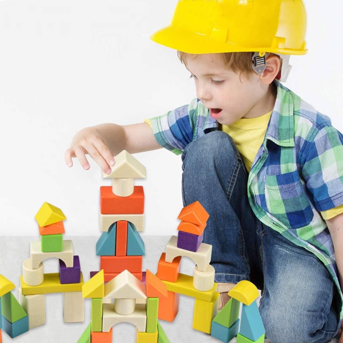 積み木 木製 ブロック モンテッソーリ 知育玩具 (56個)