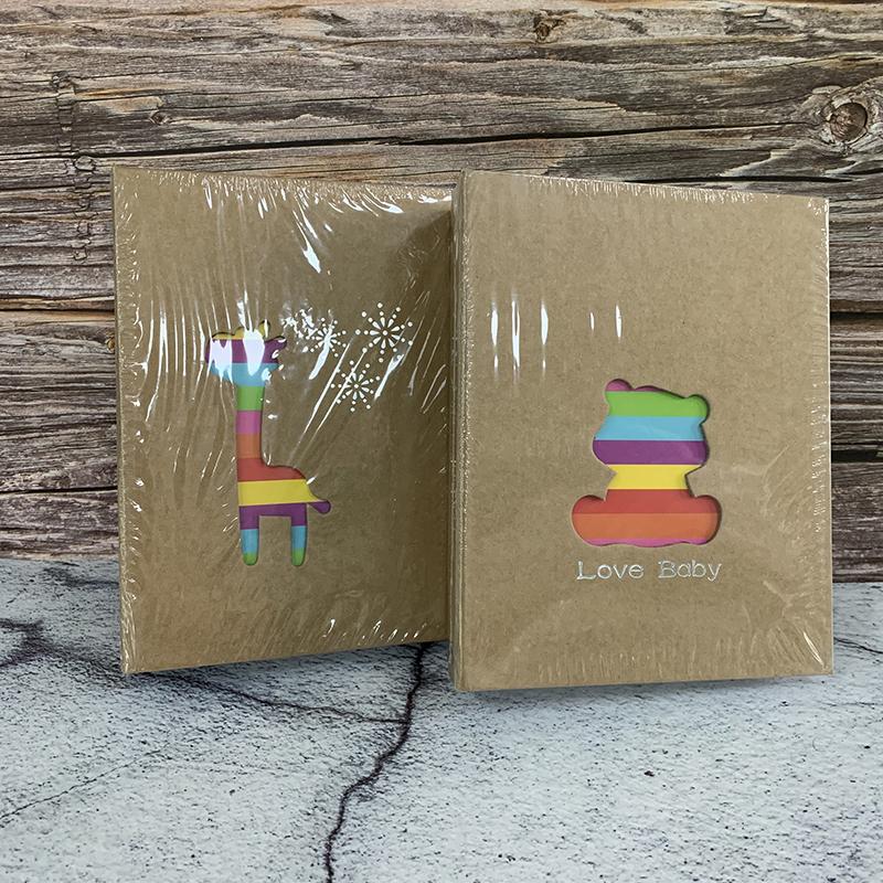 アルバム 写真大容量L判200枚収納 フォトアルバム熊とキリン2冊セット