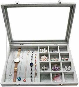 H ジュエリーケース アクセサリーボックス ピアス イヤリングケース 耳飾り収納/ネックレス収納/指輪収納 ケース ベルベット