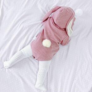 ハロウィン ロンパース うさぎ うさ耳 うさちゃん グレー ピンク ギフト 100cm 出産祝い コスプレ プレゼント ベビー
