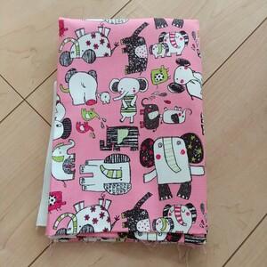 アニマル柄 ピンク はぎれ 69×100cm+41×37cm 生地 ハギレ 動物 オックス 布