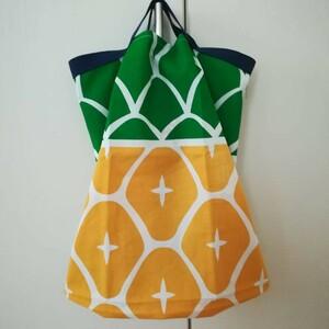 ハンドメイド パイナップル柄 エコバッグ 折り畳み トートバッグ