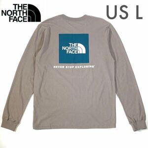 ◆日本未発売◆THE NORTH FACE BOX ロングTシャツ/US Lサイズ ミネラルグレー /ザ ノースフェイス /ロンT ボックスロゴ 長袖