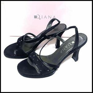 送料無料【極美品】ダイアナ DIANA オープントゥ サンダル パンプス 23.5cm 黒 ブラック レディースシューズ 靴 シューズ ヒールパンプス