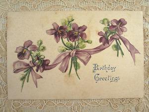 アンティーク 菫とリボンのポストカードd  スミレ 絵葉書 エンボス 20世紀初期