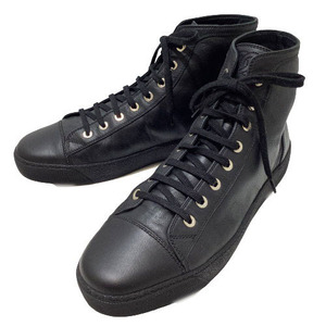 シャネル CHANEL ハイカットレザースニーカー ココマーク ブラック 靴 メンズ 中古