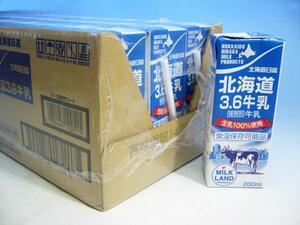 【北海道グルメマート】北海道産生乳100%使用 日高乳業 北海道3.6牛乳 常温保存可能品 200ml 24本セット