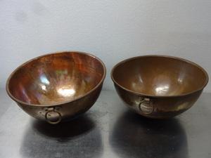 ※中古品◆銅製品◆銅丸型ボール【2個セット】キッチンボウル/丸型容器◆6