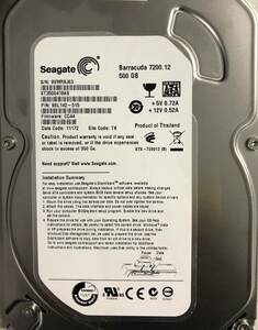 即決 送料無料 HDD ハードディスク/3.5インチ/500GB Seagate ST3500418 中古 SATA
