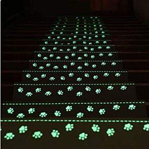 15枚入り/ベッジュ 足跡 55x22x4.5cm RAIN QUEEN 階段マット 蛍光 階段マット 滑りズレ防止 折り曲げ付