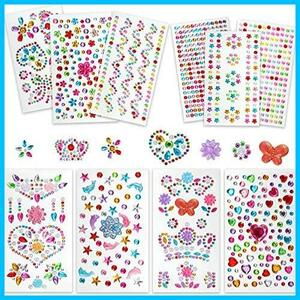 Bhjcui ラインストーン シール ダイヤモンド デコパーツ 11枚セット 貼り付け可能 キラキラ カラフル シール ネイルアートパーツ