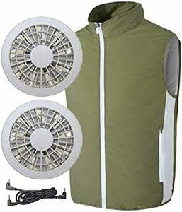 アーミーグリーン 2XL [inotenka]空調服 ベスト 空調作業服 作業着 ファン付き セット 空調扇風服 空調風神服