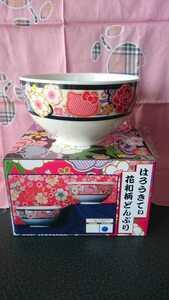 新品 キティ 花和柄どんぶり ラインブラック 陶器 食器