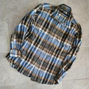 【THE NORTH FACE】ザ・ノース・フェイス ウールチェックシャツ ブラウン×ブルー 日本製