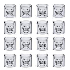◆最安にします◆スカル好きな方 16個セット ショットグラス バー クラブ 飲食 パーティー テキーラ ウィスキー アルコール ギフト AT7625
