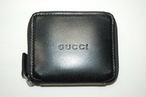 グッチ GUCCI レザー ラウンドファスナー コインケース 小銭入れ コンパクト財布 (ブラック)