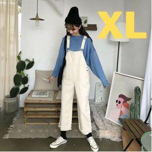オーバーオール デニム オールインワン サロペット 韓国 ポケット 新品 細見え 白 ホワイト XL カジュアル ママさん