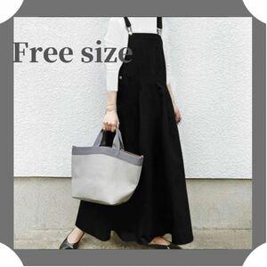 ジャンパースカート サロペット スカート ワンピース 黒 ブラック 韓国 オルチャン ポケット ママさん 即購入可