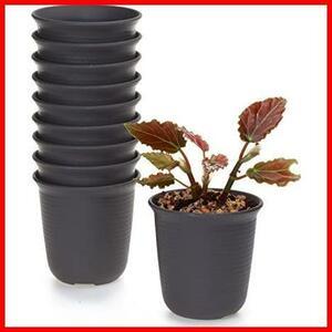T4U 6.5CM プラスチックミ二植木鉢 ラウンド 多肉植物 サボテン鉢 フラワーポット プランター容器 ダークブラウン 10個入り
