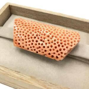希少 京やS010 帯留め 特大天然珊瑚 本珊瑚 虫食い珊瑚 無染色 帯飾り 帯留 着付け小物 和装小物 アンティーク ヴィンテージ 中古