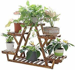 フラワースタンド 木製 ガーデンラック 4段 ガーデニング 棚 高さ58cm プランター スタンド 花台 植木鉢 台