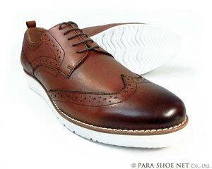 PARASHOE 本革ウィングチップ ビジネスカジュアルシューズ 厚底白ソール 3E(EEE)茶色 28cm(28.0cm)【大きいサイズ 革靴・紳士靴】