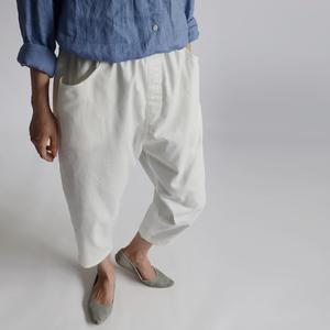 ■最終1000円~スタート『股上深いマニッシュ パンツ』83cm丈 コットン100% 飾りファスナーゆったり ホワイト 白 H36