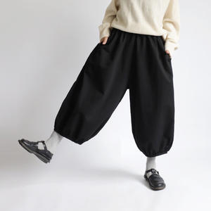 深まる秋SALE『 裾ギャザーゆったり サーカス パンツ 』83cm丈 コットン100% チノ 股上深め ブラックF30